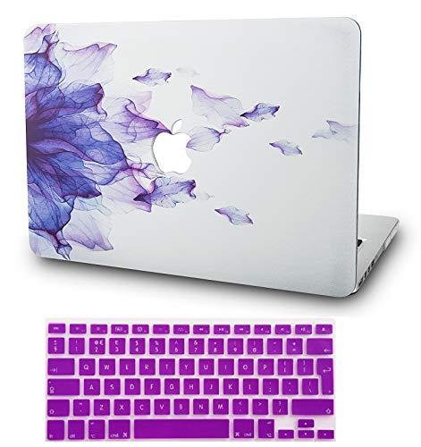 KECC MacBook Pro 13 Hülle (2019/2018/2017/2016, Touch Bar) Schutzhülle Case w/EU Tastaturschutz MacBook Pro 13.3 {A1989/A1706/A1708} (Lila Blume)
