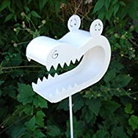 Crafty Crocodile Bird Feeder on a Stake (White Metal Finish)