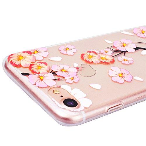 Coque iPhone 6 / iPhone 6S, HB-Int Etui de iPhone 6 / 6S Silicone Souple Flexible Protective Housse TPU Shockproof Cas Couverture Ultra Mince Thin Protecteur Case pour Apple iPhone 6/6S avec Motif Ble Fleur de pêche