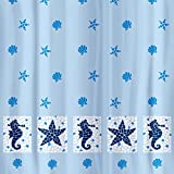 Tatkraft Marine Motifs Shower Curtain 180X180cm Waterproof Textile Polyester 12 Oval Rings