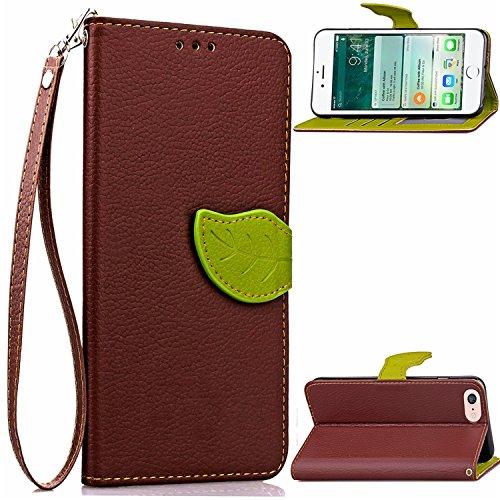 ECHT LEDER Brieftasche Case Hülle mit Kartenfächer und Bargeldfächer für iPhone 7 Braun