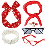 Beelittle 50's Women Costume Accessories Set Polka Dot Chiffon Scarf Bandana Tie Diadema Pendientes Retro Cat Eye Eglasses Pulsera de Perlas (Rojo)