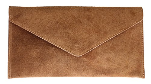 - 51j38OuEglL - Girly HandBags V108_tan Genuine Suede Leather Envelope Clutch Bag/Wrist Bag, Tan