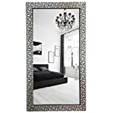 SEVEN HORSES Floral Design Glass Wall Mirror for Makeup Bathroom Dressing (14.5X26.5 Inch)