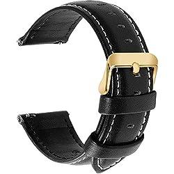 Fullmosa 14mm 16mm 18mm 19mm 20mm 22mm 24mm Bracelet Montre en Cuir Véritable, 12 Couleurs Axus Montre Bracelet à Dégagement Rapide,24mm Noir + Boucle Dorée