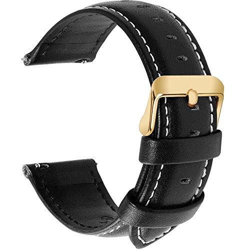 Fullmosa 12 Farben Uhrenarmband, Axus Serie Lederarmband Ersatz-Watch Armband mit Edelstahl Metall Schließe für Herren Damen 20mm,Schwarz mit golden Schnalle