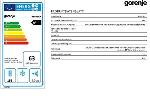 Gorenje R 6093 AX Kühlschrank / A+++ / Höhe 85 cm / Kühlen: 156 L / silber lackiert / Unterbaufähig -