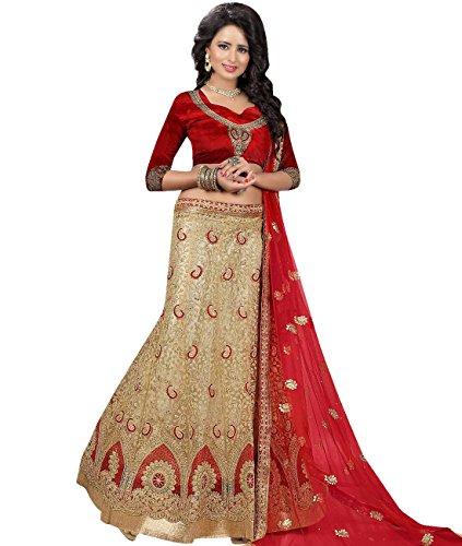 Indian Ethnicwear Bollywood Pakistani Wedding Beige A-Line Lehenga Semi-stitched-MAL53741