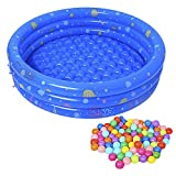 Jycra Baby Inflatable Ball Pit Pool, gonfiabile spessa Baby Ocean balls piscina con 50pz palline colorate Ocean indoor outdoor Game House giocattolo per neonati e bambini, Blue, 80cm/ 31.5inch