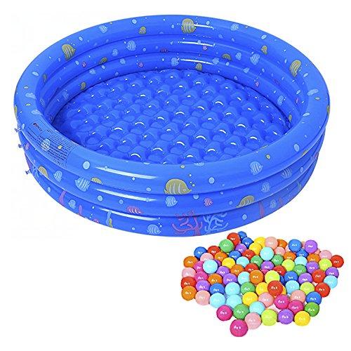 LouisaYork Aufblasbarer Babypool,Planschbecken Kinderpool 50 Bällebadbälle,Planschbecken Kinder Pool für den Garten, Terrasse, Urlaub,Camping der ideale Wasserspass,80x80x28cm -