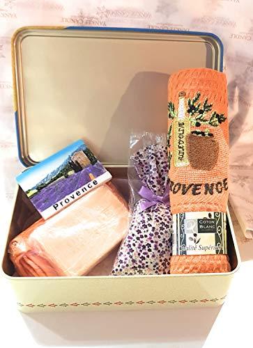 CB Zuckerdose Côte d'Azur - Provence - Geschirrtuch Provence Farben Orange - Duftseife Orange Grapefruit 100 g + Waschhandschuh Orange - 1 Beutel Lavendel 80 g + 1 Magnet Provence - Lavendel Geschirrtücher