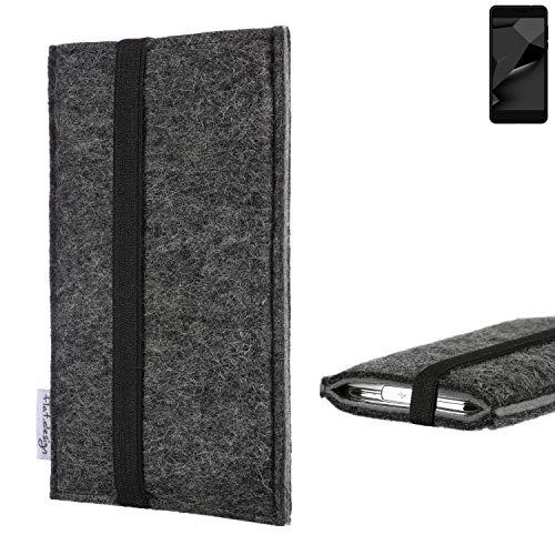 flat.design Handyhülle Lagoa für Blaupunkt SL Plus 02 | Farbe: anthrazit/grau | Smartphone-Tasche aus Filz | Handy Schutzhülle| Handytasche Made in Germany