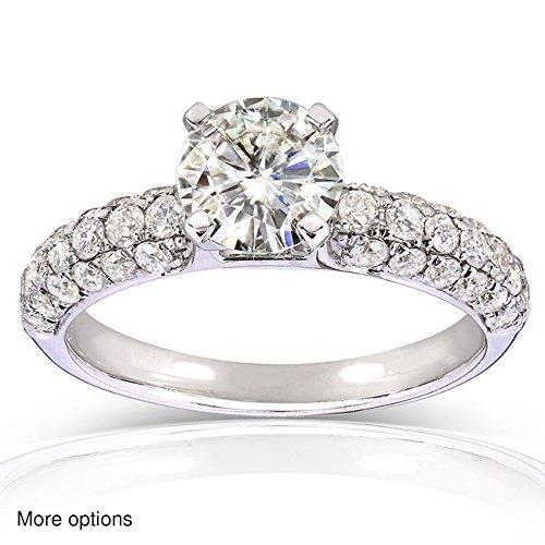 Moissanite & Micro, con pavé di diamanti Anello solitario 1 3/4 carato (ctw) in oro 14 k, Oro giallo, 22, cod. MZ61849R-1E_10.0_YG