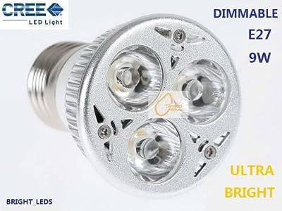 Ultra-helle Dimmbare E27 CREE 3*3w 9W LED Glühbirne in Warmweiß (3000K) ENERGIEEINSPARUNG SPOTS PERFEKT FÜR WECHSEL 50W~60W Halogenlampen!