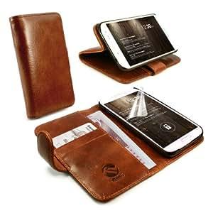 Tuff-Luv Vintage Étui style Portefeuille avec stand pour for Samsung Galaxy S5 (Protecteur d'écran gratuit)- Marron
