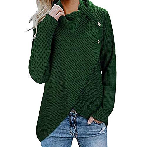 iHENGH Damen Herbst Winter Übergangs Warm Bequem Slim Lässig Stilvoll Frauen Langarm Solid Sweatshirt Pullover Tops Bluse Shirt - College-hund-pullover