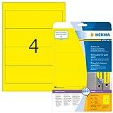 Herma 10166 Farbige Ordnerrücken gelb ablösbar, breit/kurz, 80 Ordner Etiketten (192 x 61 mm) 20 Blatt A4 Papier matt, bedruckbar, selbstklebend