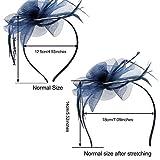 Haarschmuck Haarreif eleganter Fascinator mit Federn Blumen Kopfbedeckung Braut Hochzeit (Dunkelblau) für Haarschmuck Haarreif eleganter Fascinator mit Federn Blumen Kopfbedeckung Braut Hochzeit (Dunkelblau)