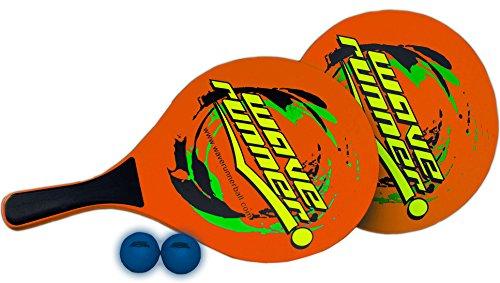 rand Paddel aus Holz Spiel Set inkl. 2Low Widerstandsfähigkeit Kugeln, 2Holz Paddel, 1Tasche Toll für Strand Pool Park Innen Geschenke, Orange ()