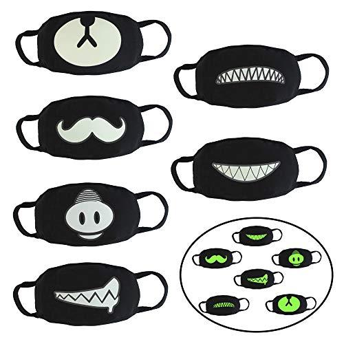 (CODIRATO 6 Stück Baumwolle Maske Wiederverwendbarer Mundschutz Maske Kawaii Maske Anti Staub,Wind für Damen, Herren, Kinder(Schwarz))
