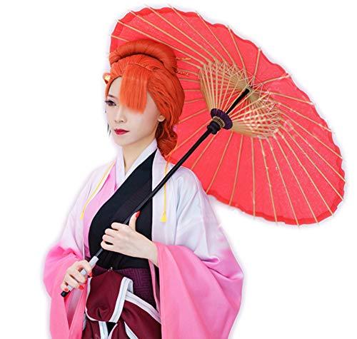 y Dogs Ozaki Akabaci Perücke Cosplay Orange Lange Glatte Haare Halloween Kostüm Zubehör für Erwachsene Jugendliche ()