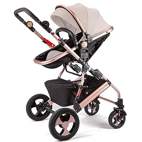 Qiangzi Chariot bébé Enfant La poussette bébé peut s'asseoir peut s'allonger Deux sentiers pli Quatre rondes Paysage élevé Bébé Enfants Poussettes Poussette bébé pliante pour enfants ( Couleur : C )