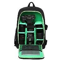 Huntvp Camera Backpack DSLR SLR Camera Bag Large Waterproof Anti-shock Rucksack Smart Photography Video Bag with Rain Cover(Size: 30*16*43cm) Green