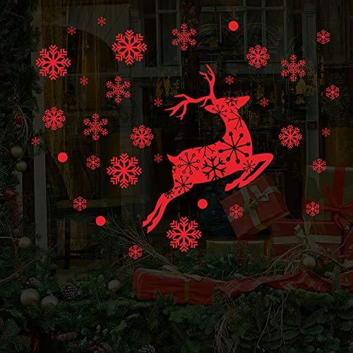 Amphia - Niedliches springendes Elchweihnachtsdekorations-Wandaufkleberrot,Nette springende Elch-entfernbare Wand-Aufkleber-Hauptweihnachtsdekoration