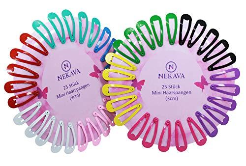 50 Stück bunte Mini Haarspangen von Nekava in 10 Farben. Ideal für Mädchen, Kinder und Damen. Haarclips werden in schönem Design geliefert. Haarspange klein (3cm)