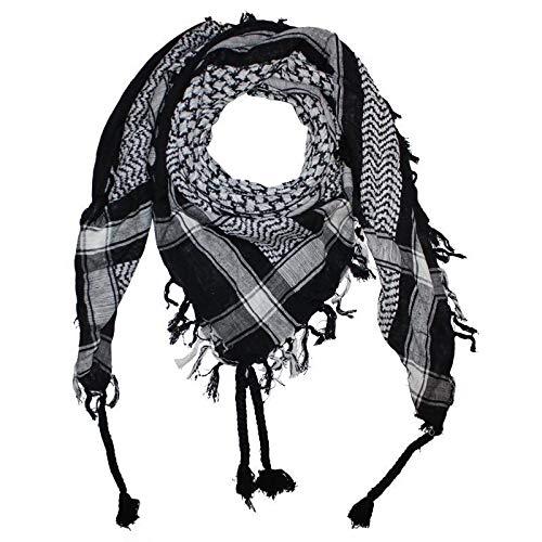 Freak Scene Superfreak® Pañuelo pali con color de base negro°chal PLO°100x100 cm°Pañuelo palestino Arafat°100% algodón – negro/blanco