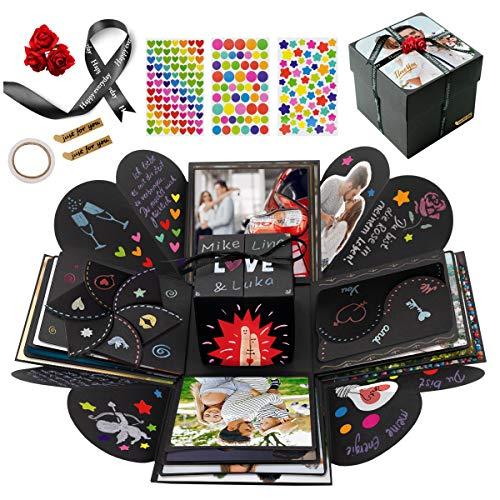 int!rend Premium DIY Foto Geschenkbox, personalisierte Überraschungsbox, für Geburtstag, Hochzeit, Valentinstag, Jahrestag, kreatives Fotoalbum für Freundin oder Freund - Explosionsbox