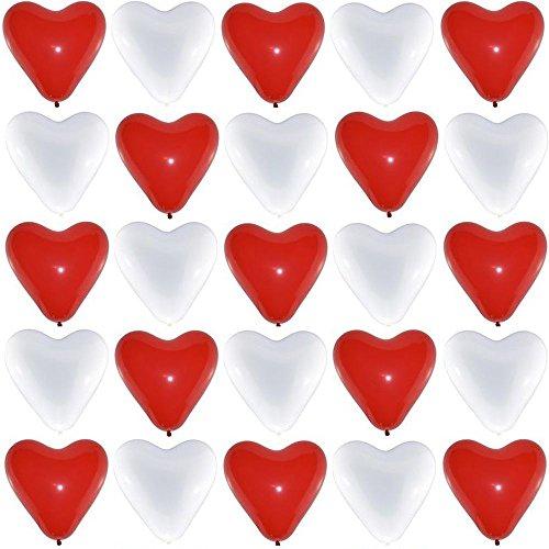 bestehemden 50 Große Premium Herz Luftballons 25 Rot 25 Weiß Ø 30cm Helium Geeignet Markenqualität Party Hochzeit Geburtstag Herzluftballons (Luftballons Mit Herzen)