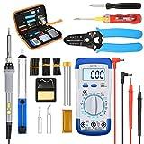 liumy Kit de soldador de 15 en 1, ajustable de 60 W de sudor Hierro/multímetro digital/5 Juego de puntas/eléctrica lápiz/doble Destornillador/soldadura/pelacables/manguera de contracción por calor