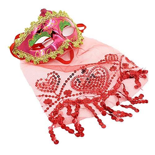 (SCLMJ Frauen-Spitze-Masken-Abschlussball-Partei-Masken Für Maskerade-Halloween-Kostüme Karnevals-Schablone Für Anonymes Mardi, Rot)