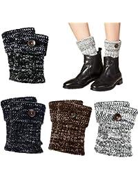 VBIGER 4 pares Mujeres Calentadores de la pierna Calcetines Botas Calcetines de punto de Invierno