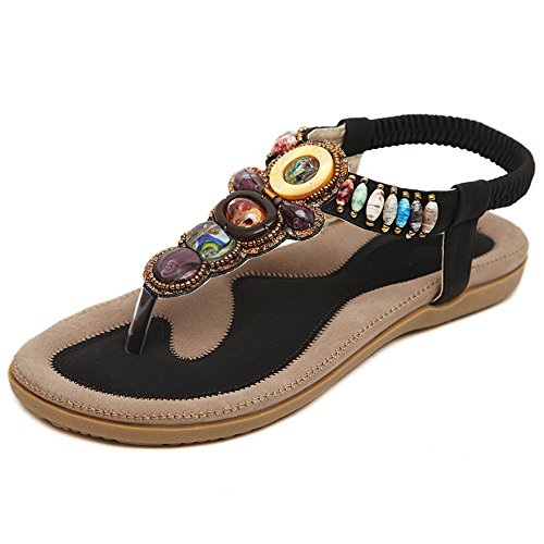 Da donna Scarpe sandalo flip-flop Di Stili in Boemia Beaded Nero