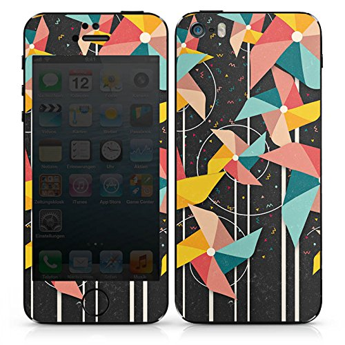 Apple iPhone SE Case Skin Sticker aus Vinyl-Folie Aufkleber Windrad Muster Bunt DesignSkins® glänzend