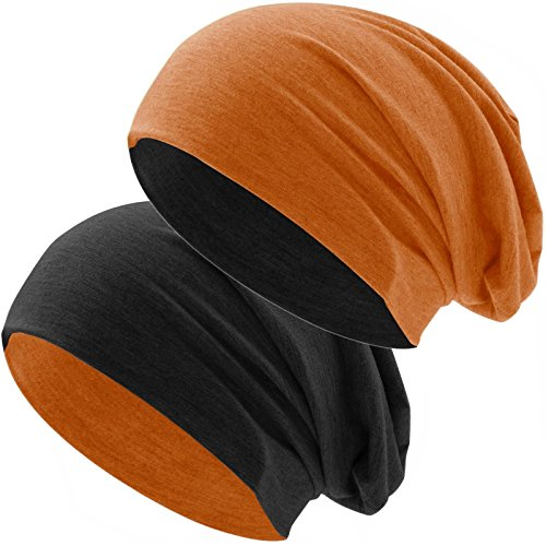 Baumwoll Long Beanie (Hatstar Bicolor Jersey Slouch Long Beanie Mütze, leicht und weich, Reversible Beanie für Damen und Herren (Zwei-farbig   Bicolor orange-schwarz))