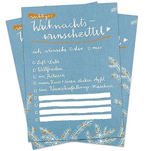 10 Stück witzige Weihnachtskarten: Wichtiger Weihnachtswunschzettel, Wunschzettel für Weihnachten als Postkarten für deine Weihnachtspost, A6, Set