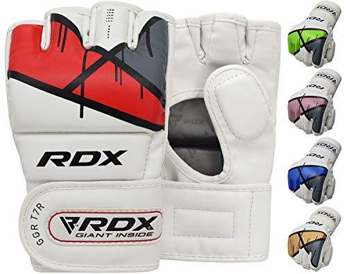 RDX MMA Handschuhe Profi Kampfsport Boxsack Sparring Training Grappling Gloves Freefight Sandsack Maya Hide Leder Punchinghandschuhe (MEHRWEG) -