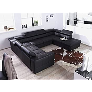 Xxl wohnlandschaft couch cary u form lederoptik for Wohnlandschaft u form schwarz