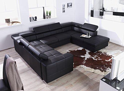Xxl Wohnlandschaft Couch Cary U Form Lederoptik Schwarz
