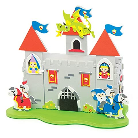 Knights & Dragons Castle Kit for Children to Assemble Make & Display - Creative Craft Set Toy for