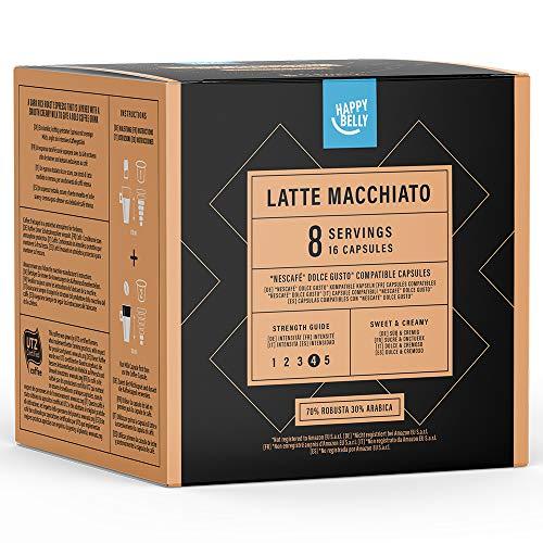 Marca Amazon- Happy Belly - Cápsulas de café Latte Macchiato compatibles con NESCAFÉ* DOLCE GUSTO*, UTZ,  3x 16 cápsulas (24 porciones)