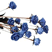 Sanysis Bouquet de boda Rosa flores artificiales Decoración nupcial (Azul)