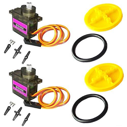 Youmile 2PACK Spielzeug Rad Gelb Reifen Chassis Kunststoff TT motor roboter smart auto plattform auto elektronische + 2PACK MG90S Servomotor