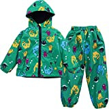 LZH Jungen Kinder Dinosaurier Regenjacke Kapuze +Regenhose 2pcs Bekleidungsset