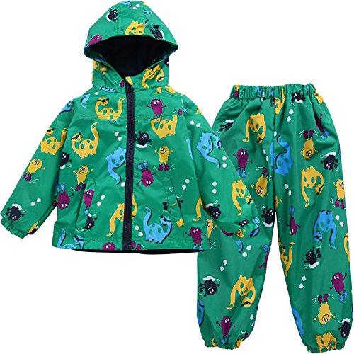 LZH Jungen Kinder Dinosaurier Regenjacke Kapuze +Regenhose 2pcs Bekleidungsset, Green, 122/128 (Herstellergröße: 130)
