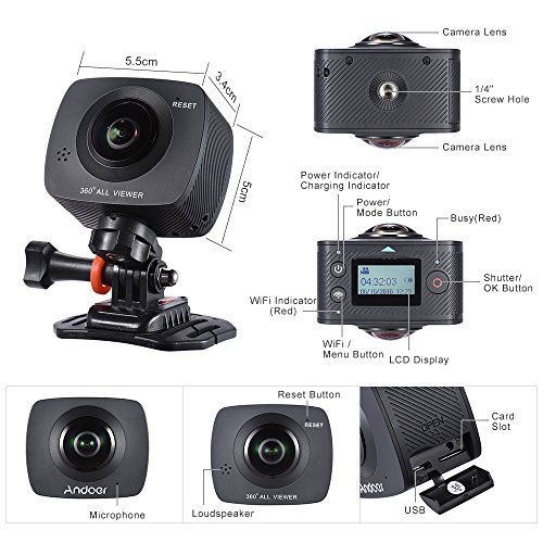 Andoer Doppel-Objektiv 360-Grad-Panorama-Digital-Video-Sport-Action-VR-Kamera 1920 * 960P 30fps HD 8MP mit 220 Grad-Fisch-Augen-Objektiv - 5