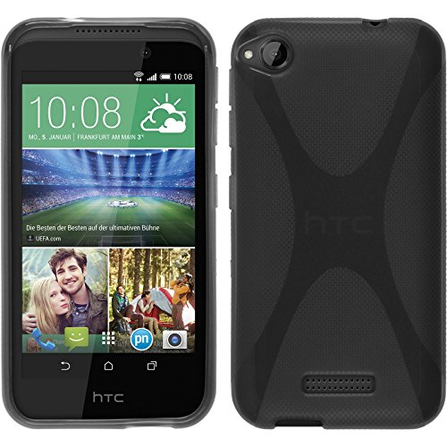PhoneNatic Case kompatibel mit HTC Desire 320 - grau Silikon Hülle X-Style + 2 Schutzfolien